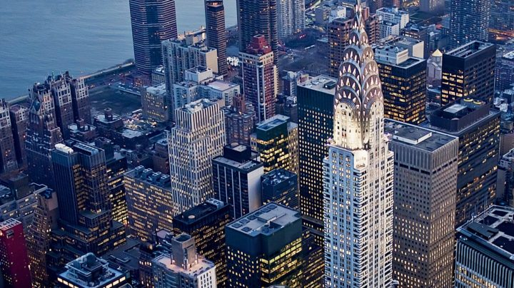 Chrysler Building At Night From Top