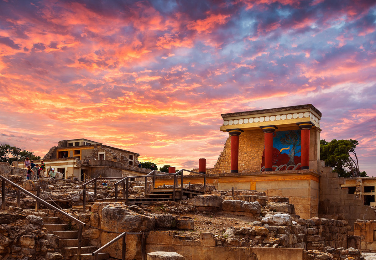Knossos Photo At Sunset