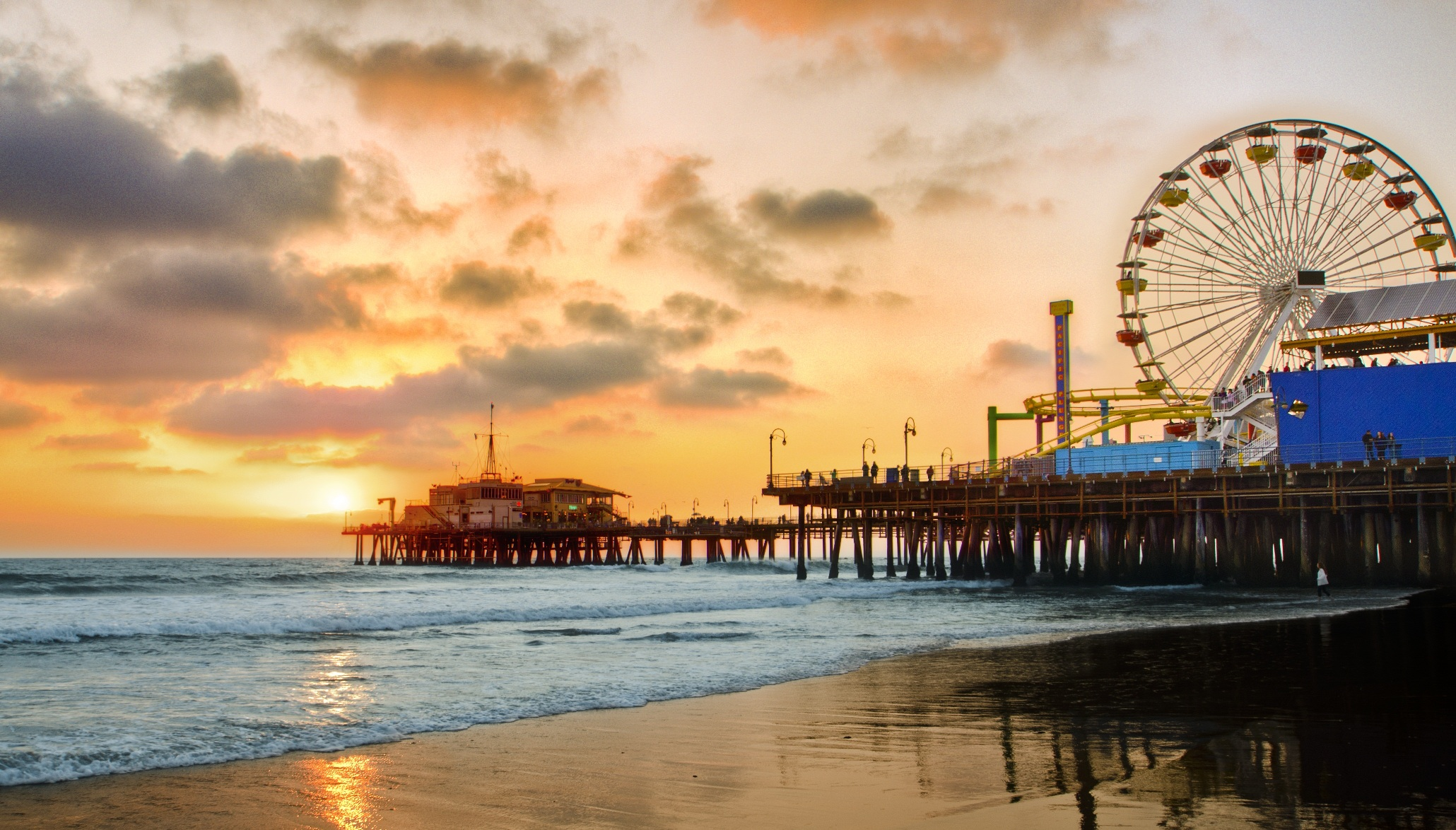 Santa Monica Pier Photo At Sunset